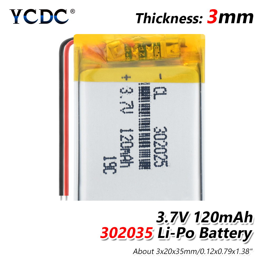 3.7V 120mAH <font><b>302025</b></font> PLIB polymer lithium ion / Li-ion Rechargeable battery for smart watch,BLUE TOOTH,GPS,mp3,mp4,toy,speaker image