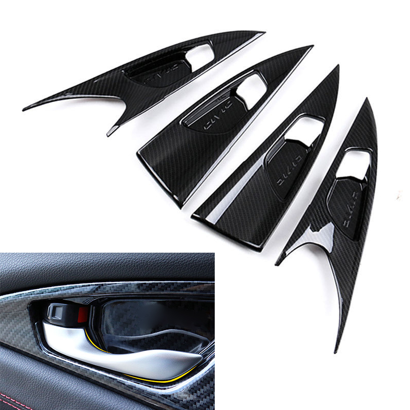 4pcs Carbon Fiber Style Inner Door Handle Bowl Panel Cover Trim For Honda Civic 10th Sedan 2016 2017 Hatchback 2017