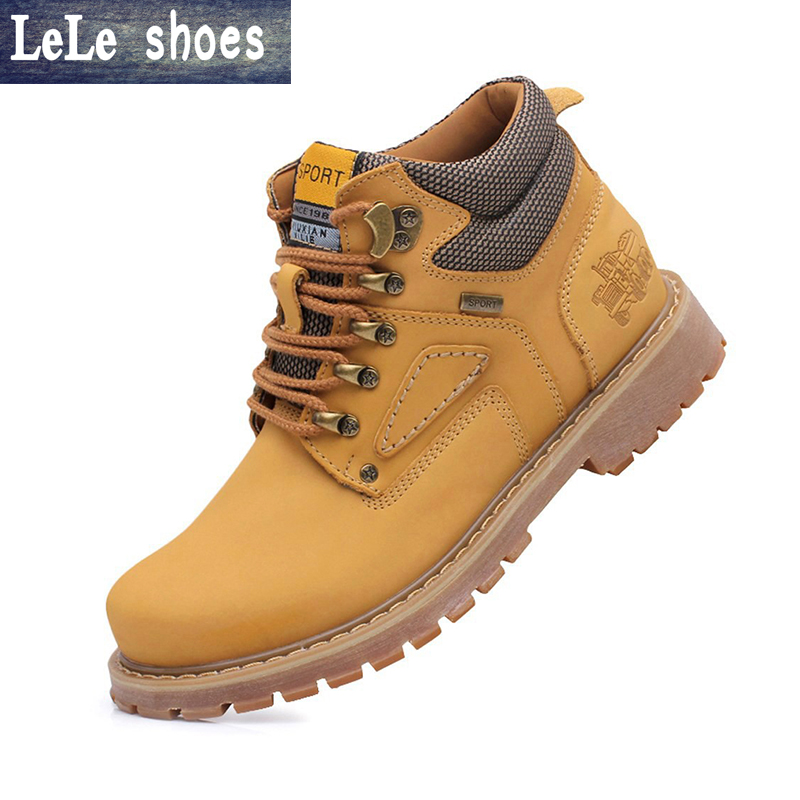 2016 Autumn Winter Men Ankle Timber Boots High Quality Leather Plush Fur Warm Snow Martin Boots Outdoor Botas Hombre Plus Size цены онлайн