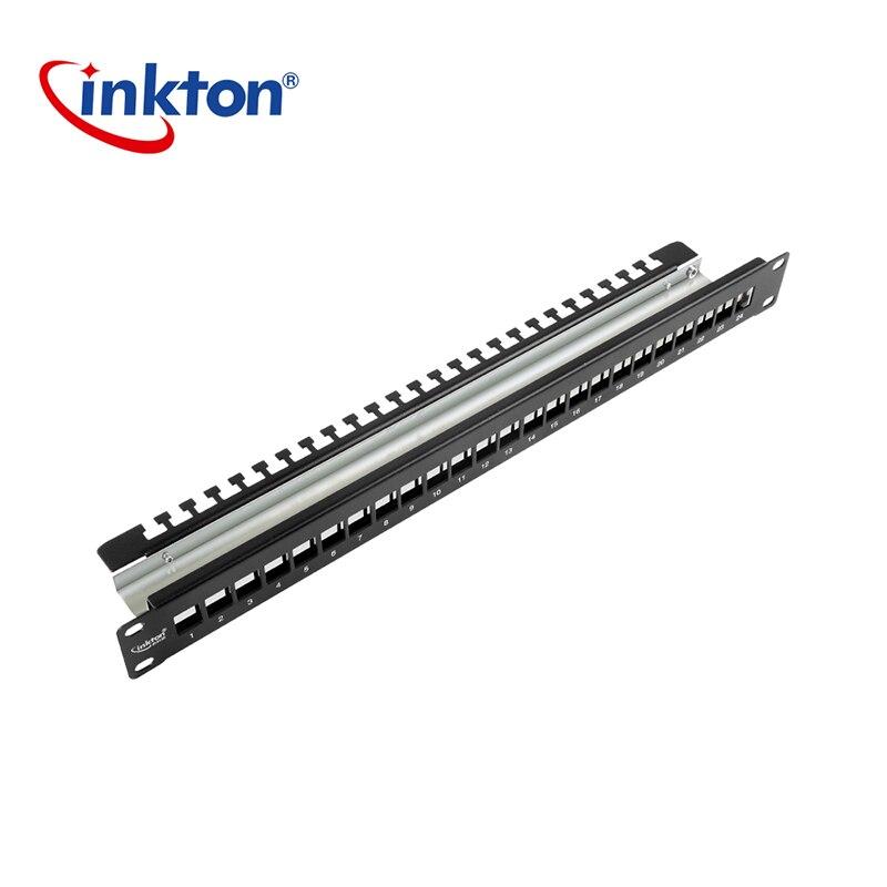 Panneau de brassage blanc Inkton 24 Ports 19 pouces 1U Cat6 matériau de protection en métal FTP pour cadre de Distribution blanc de câble Ethernet