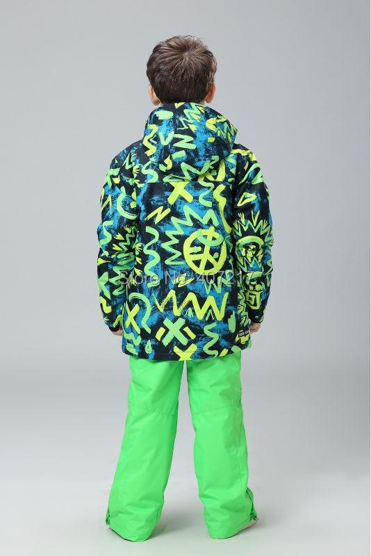 bb4007a43 2016 NEW children s green doodle ski suit boys snowboard suit kids ...