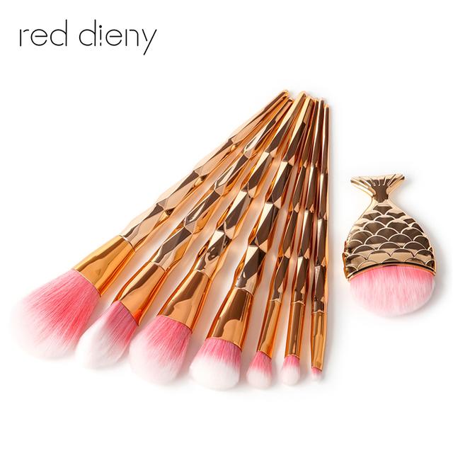 8Pcs Maquiagem Unquie  Makeup Brush Set Yellow Hair Powder Eyeshadow Foundation Cosmetic Brush Diamond Rose Handle Make-up Brush