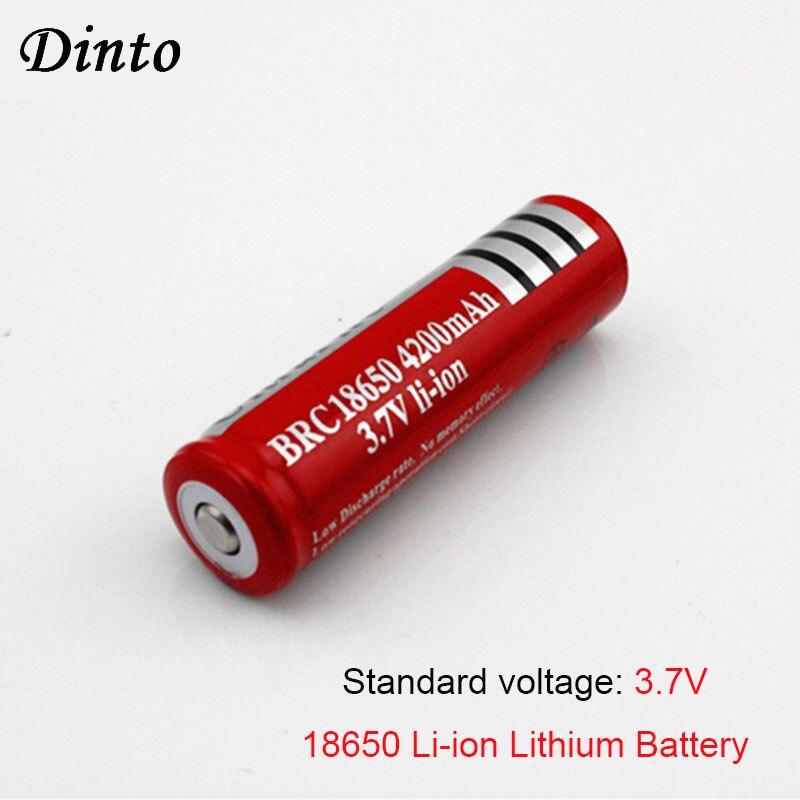 Dinto 2pcs BRC18650 Rechargeable 3.7V Li-ion Lithium Battery 4200mAh Batteries For Laser Pen LED Headlight Flashlight