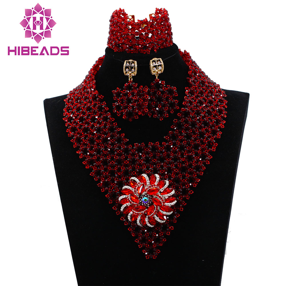 Latest Design African Women Jewelry Set Burgundy Nigerian Wedding ...
