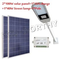 40W LED Solar Street Light System Kit 2pcs 100W Solar Panel 15A Controller Pole