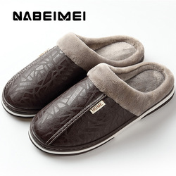 2018 Men Leather Slippers Winter Memory Foam size 40-49 Indoor Slipper Male Non-Slip short plush Warm House slippers for man