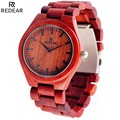 Top Popular Red Sandal Wooden Watch Men Japan Quartz Movement Wristwatch Luxury Brand REDEAR Natural Wood Women Watches Relojes