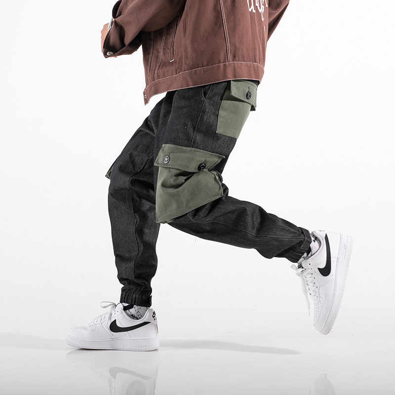 Mężczyźni na co dzień spodnie haremki High Street Hip Hop mężczyzna duża kieszeń Slim Fit spodnie Cargo Biker spodnie dresowe Jogger Drop Shipping ABZ128