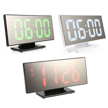 デジタル鏡面目覚まし時計付き大型ledディスプレイ充電usbポート用寝室スヌーズデジタル時計家の装飾デジタル時計