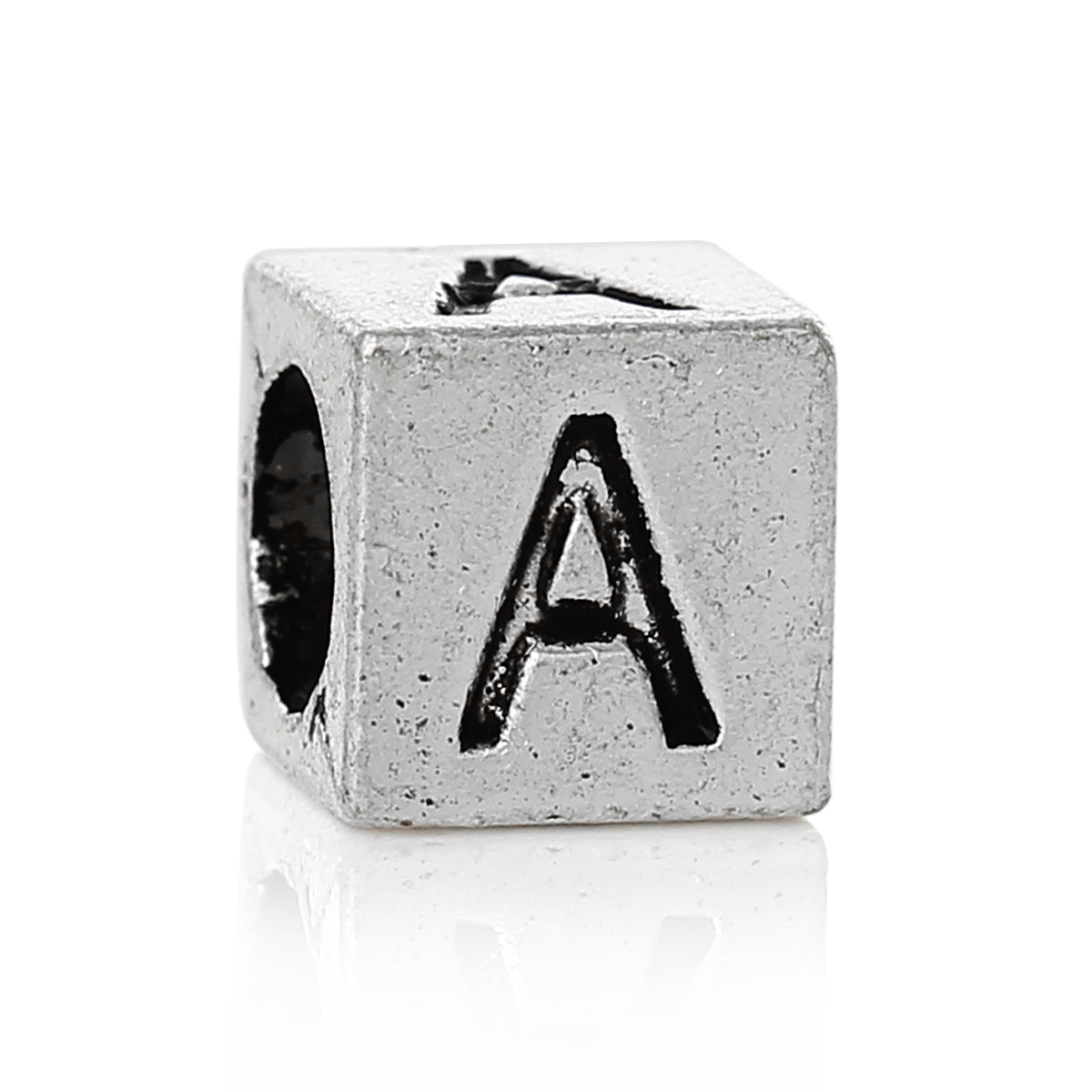 """DoreenBeads 20 PCs antique silver Alphabet/Letter """"A"""" Charms Beads Fit European Charm 7x7mm new"""