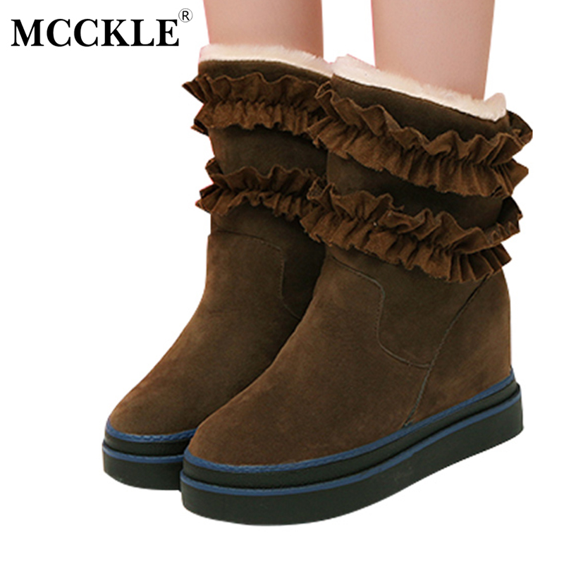 MCCKLE Ladies Winter Warm Plush Ankle Snow Boots Women Fashion Lotus Leaf Side Fur Slip On Black Platform Solid Style Shoes mcckle female winter warm plush ankle snow boots 2017 women fashion lotus leaf side fur slip on platform solid style shoes