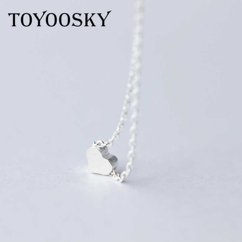TOYOOSKY 925 Sterling Silver Love Heart Necklaces & Pendants Simple Luxury Necklace For Women Fine Jewelry Colar Bijoux Collier