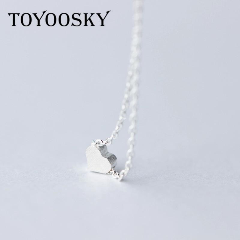 TOYOOSKY 925 argent Sterling amour coeur colliers et pendentifs Simple Collier de luxe pour les femmes Bijoux fins Colar Bijoux Collier