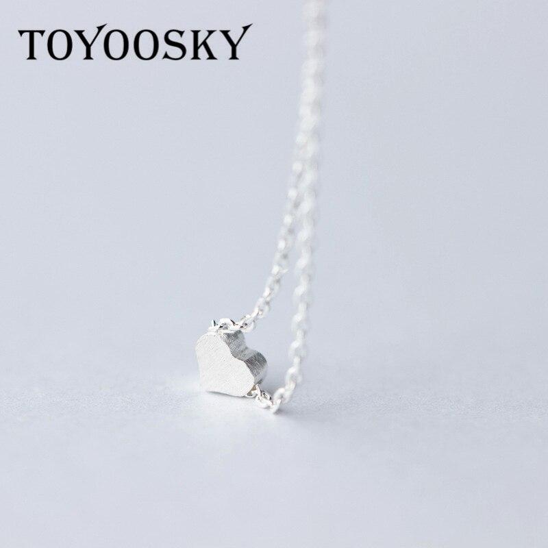 Toyosky 925 prata esterlina amor coração colares & pingentes simples colar de luxo para mulheres jóias finas colar bijoux collier