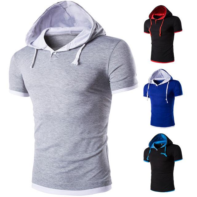2019 Men Tshirt Summer Casual Hooded Tees Hot Sale Short Sleeve T-Shirt Homme Slim Fit Elastic Brand Clothing Male T shirt