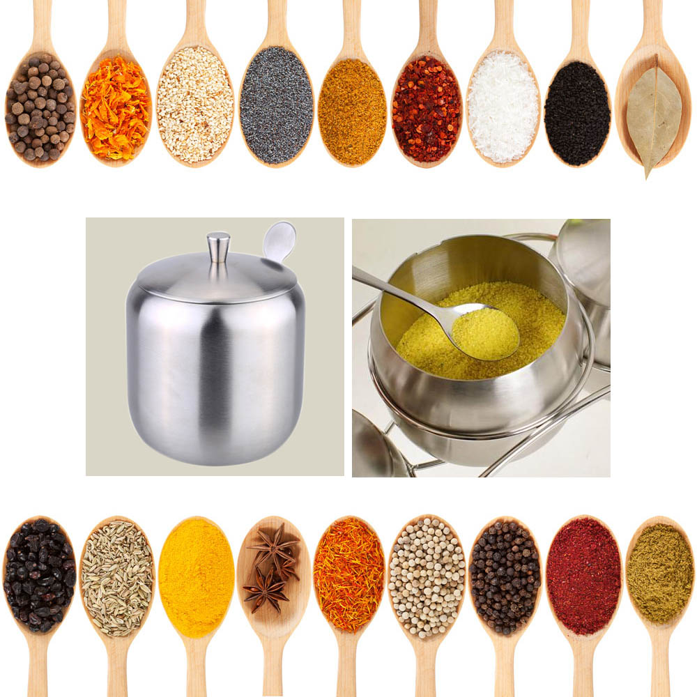 Image 5 - Stainless Steel Home Storage Kitchen Tool Accessories Drum Shaped Cruet Seasoning Pot Sugar Coffee Can Container with Spoon-in Storage Bottles & Jars from Home & Garden