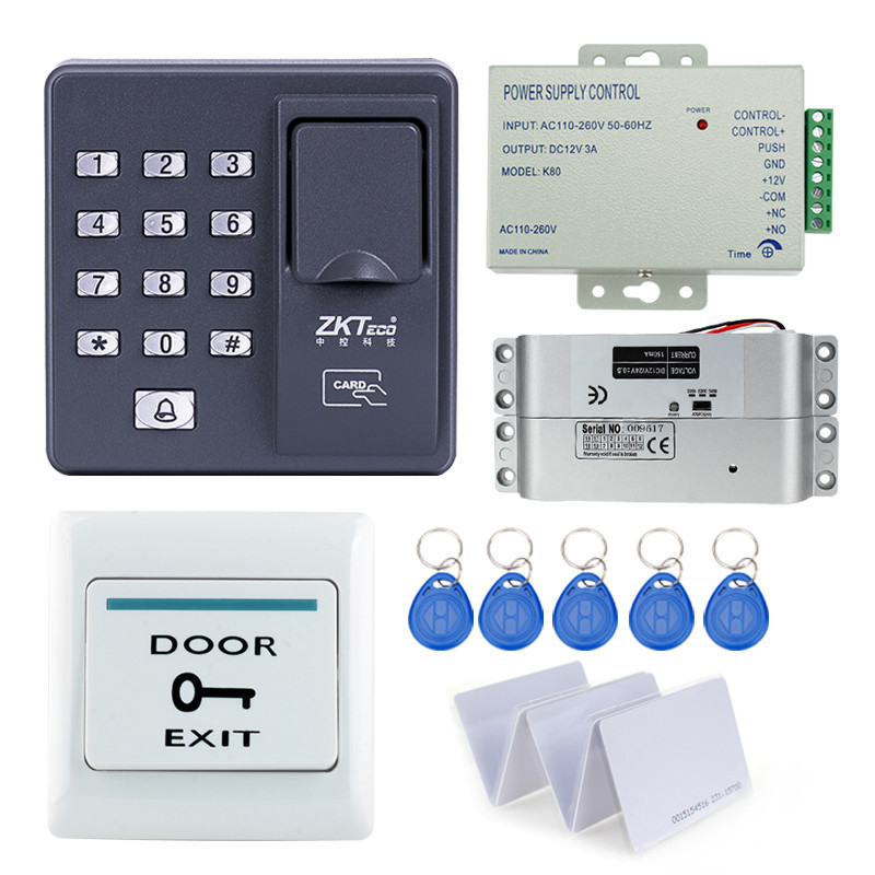 RFID reader finger scanner biometric fingerprint access control X6+electronic drop bolt lock+power supply+exit button+key cards