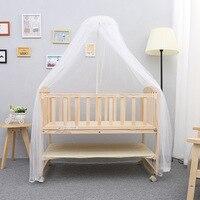 Solid Wood Baby Bed Newborn Children Sleeping Baby Crib Multifunctional Baby Playpen Crib Rolling Wheels Baby Cradle C01