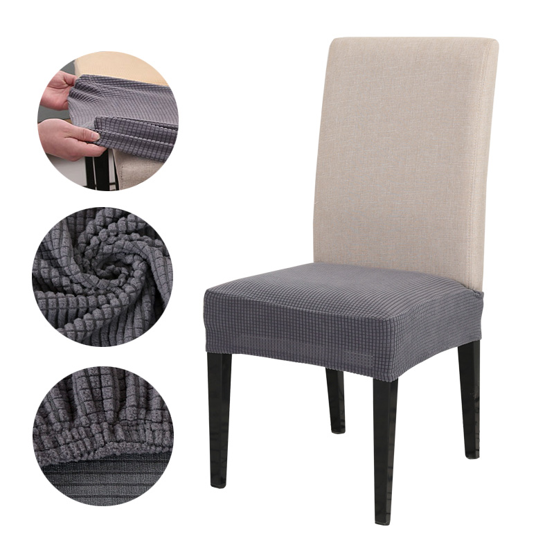 Dining Room Chair Cushion Covers: Solid Chair Covers Elastic Stretch Half Wraped Dining Room
