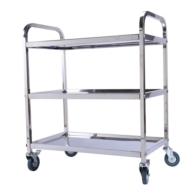Movable Stainless Steel Storage Rack Shelf With Wheels Kitchen/Refrigerator  Side Shelves Multi Layer