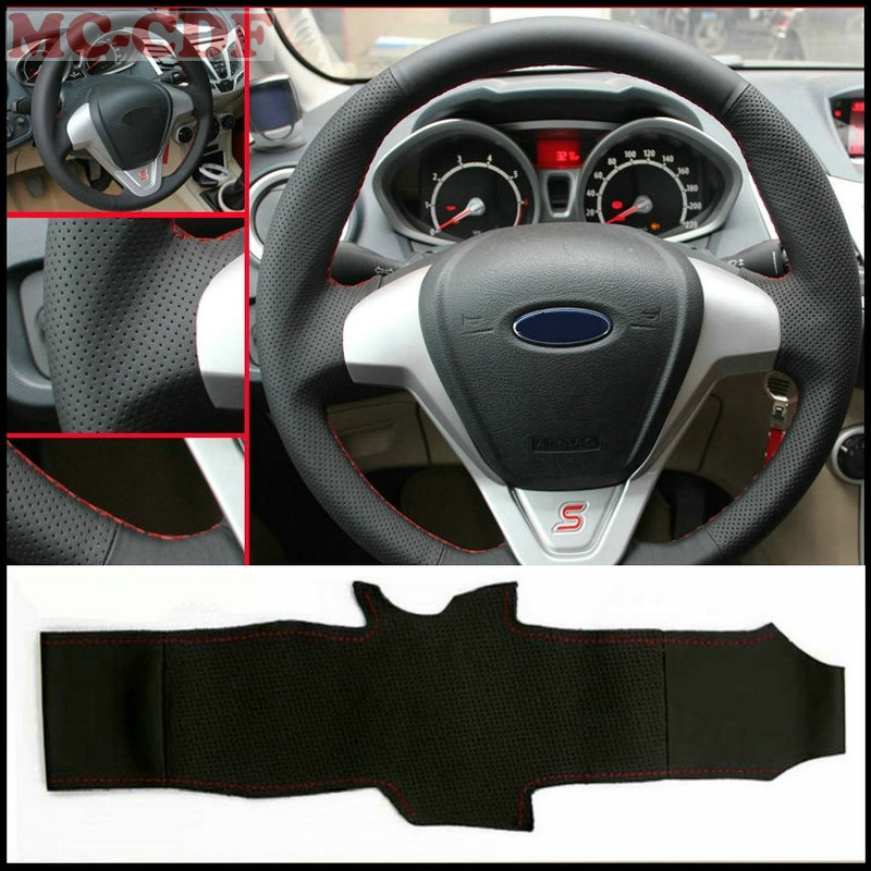 Car-styling Artificial Leather Car Steering Wheel Cover for Ford Fiesta 2008-2013 Ecosport 2013-2016 Car accessories цена