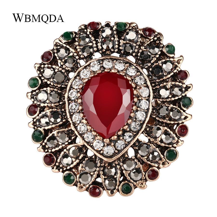 Bohemian Vintage Fashion Big Antique Gold Crystal Rings For Women Luxury Peacock Ring Statement Turkish Jewelry Free Shipping