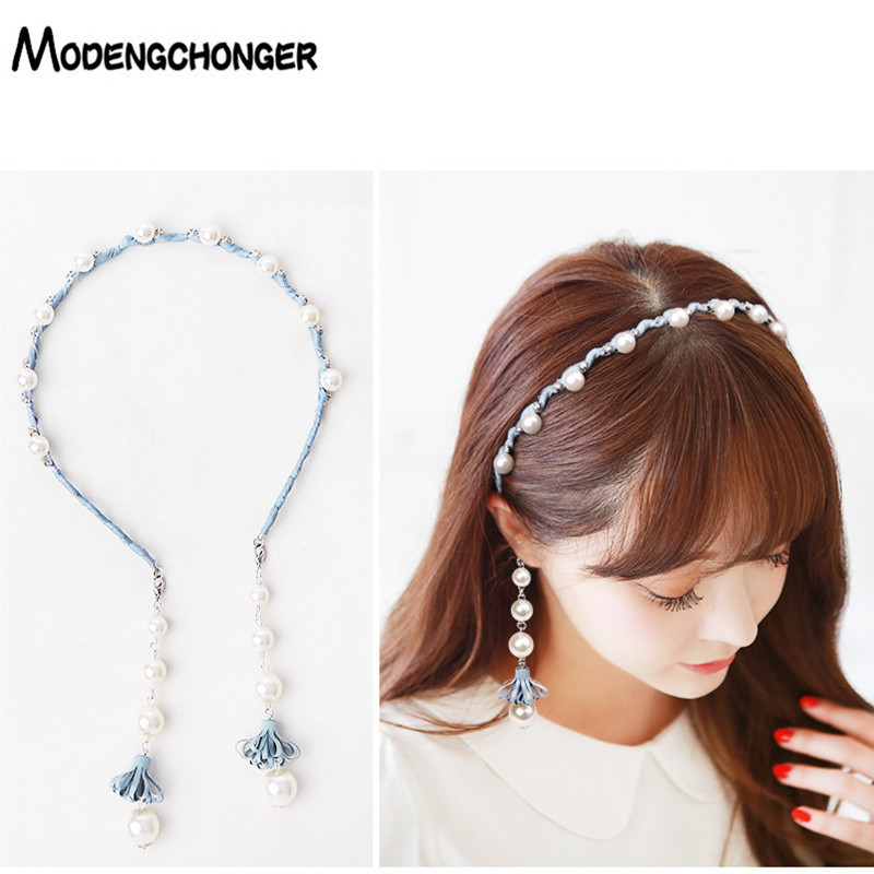 Sweet Flowers Pearls Hair Bezel Tassel Earring Hair Hoop Hairbands  Streamer Pandent Headband For Women Girls Hair Accessories