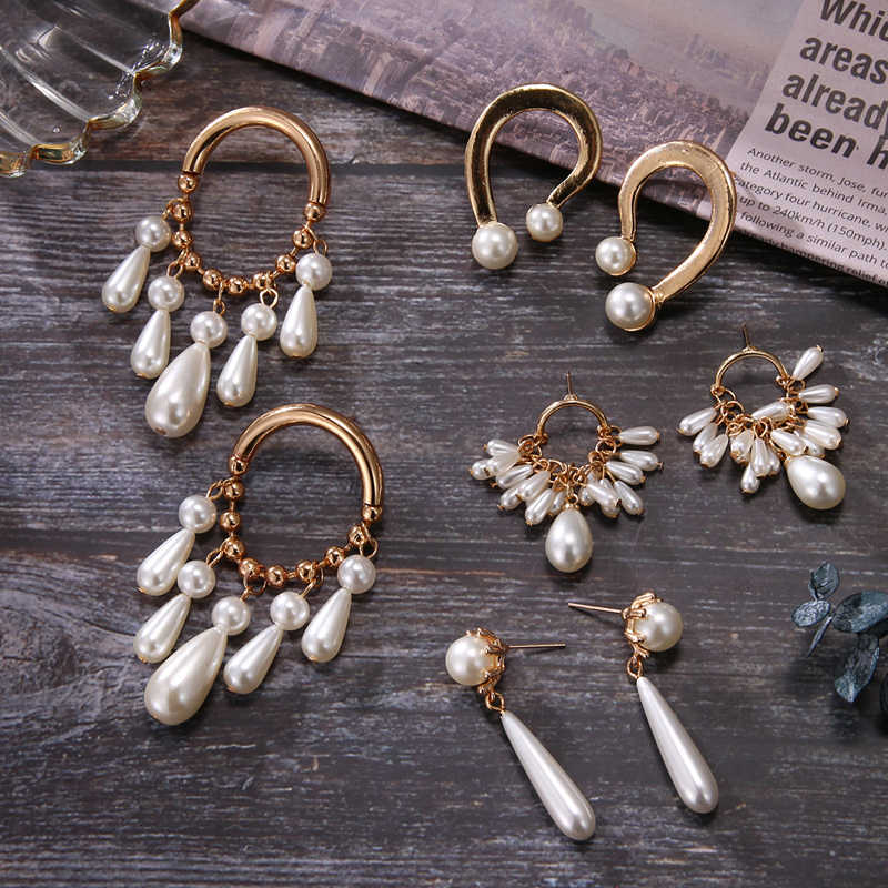 Long Earrings for Women Tassel Simulated Pearls Dangle Drop Geometric Statement Earring Fashion Jewelry Wedding Earrings