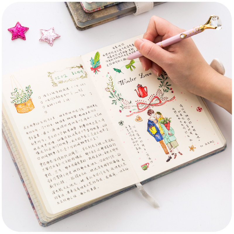 Image 3 - JIANWU painting Colorful note book Hard shell notebook schedule planner kawaii scrapbook Hardcover diary office School supplies-in Notebooks from Office & School Supplies