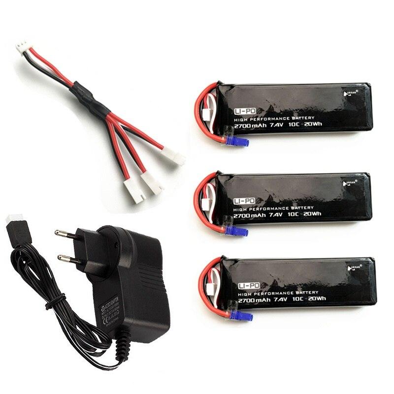 Original für Hubson H501C H501S X4 7,4 v 2700 mah 10C 20WH 7,4 v lipo batterie und ladegerät Für RC quadcopter Drone Teile 2 s batterie