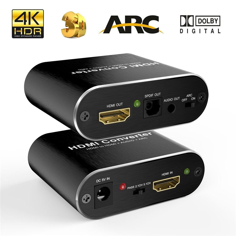 4k hdmi extrator de áudio 5.1 extrator hdmi-divisor compatível hd para extrator de áudio óptico toslink spdif