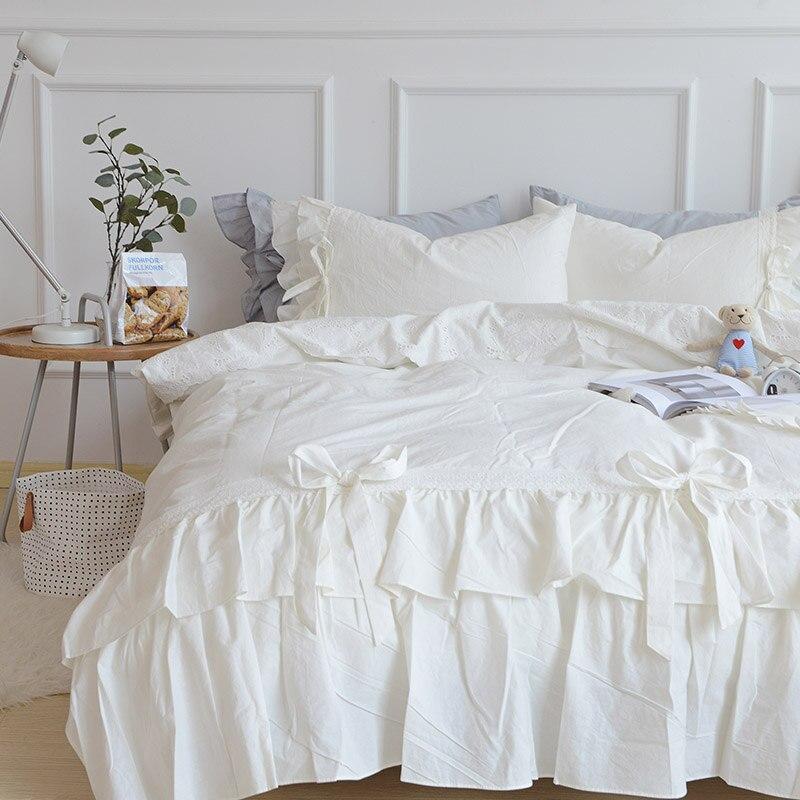 White Korean style bedding set 4pcs washed cotton duvet cover set bed quilt twin queen king size bedsheet set pillowcase bedclotWhite Korean style bedding set 4pcs washed cotton duvet cover set bed quilt twin queen king size bedsheet set pillowcase bedclot