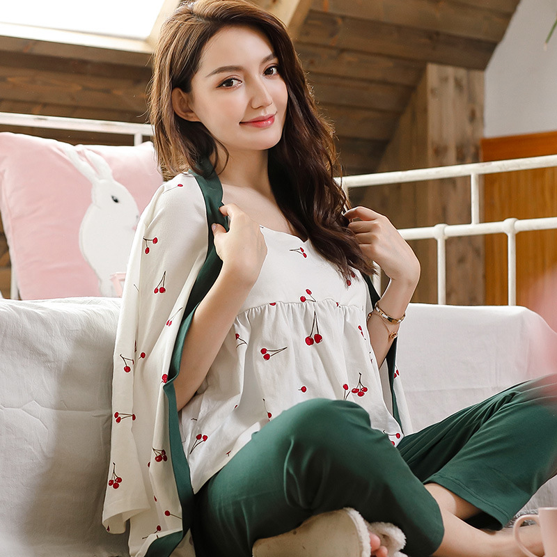 Pregnant Women Nursing Pajamas Maternity Cotton Home Clothes 3Sets Full Sleeve Sleepwear Postpartum Clothings Breastfeeding