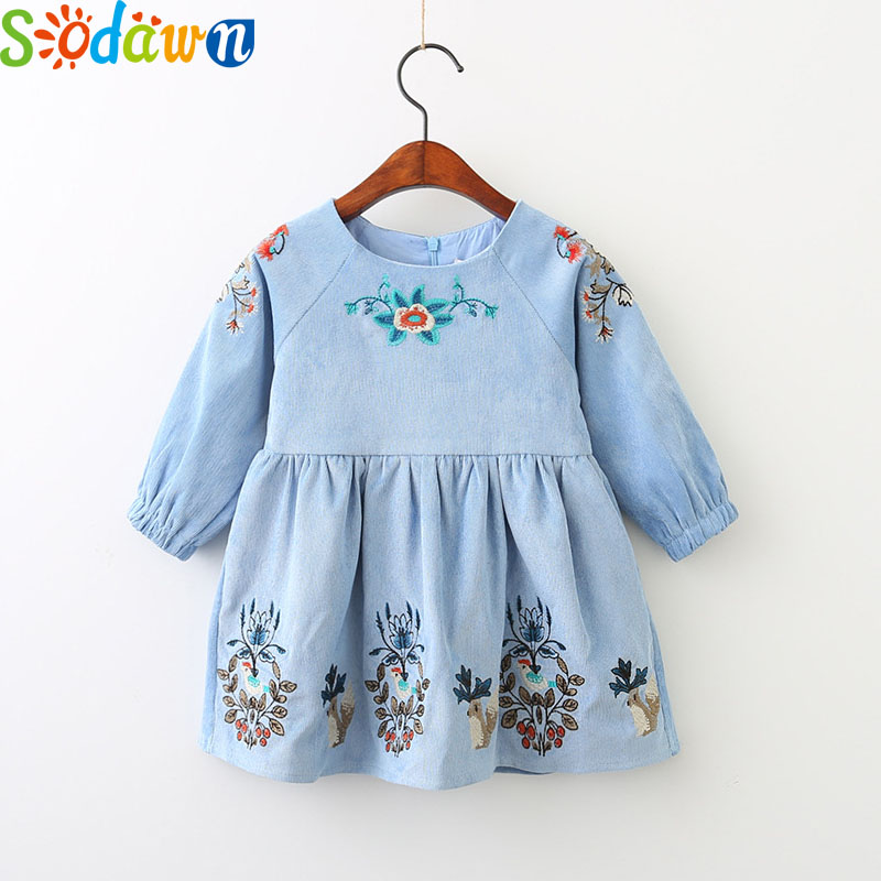 Sodawn 2017 2017 Girls Clothes Autumn New Loaded Leaves Cartoon Animal Embroidery Long Sleeved Girl Dress