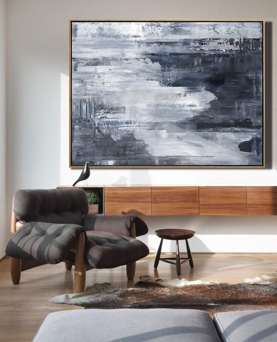 Black White Painting Large Abstract Grey Art Horizontal Wall Handmade Decor Canvas Calligraphy Aliexpress