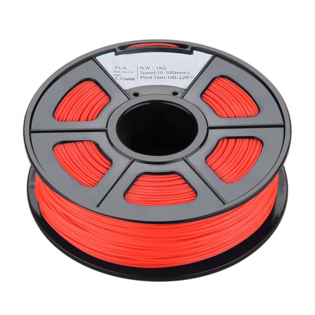 New 1.75mm Glow in the Dark PLA 3D Printer Filament - 1kg Spool (2.2 lbs) - Dimensional Accuracy +/- 0.02mm (Red) 3d printer filament pla 1 75mm 1kg plastic rubber consumables material 10 kinds colours for you choose