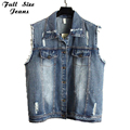 2016 Vintage Westen Dames Denim Vest 4Xl 3Xl 2Xl Plus Size Boyfriend Ripped Jeans Vest Turn Down Collar Sleeveless Jacket