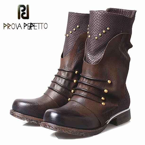 Prova Perfetto New Fashion Rivet Genuine Leather Women's Shoes Winter Ankle Boots Pleated Thick Heel Flats Short Martin Boots prova perfetto autumn winter new genuine leather low heel women mid calf boots round toe thick bottom comfortable martin boots