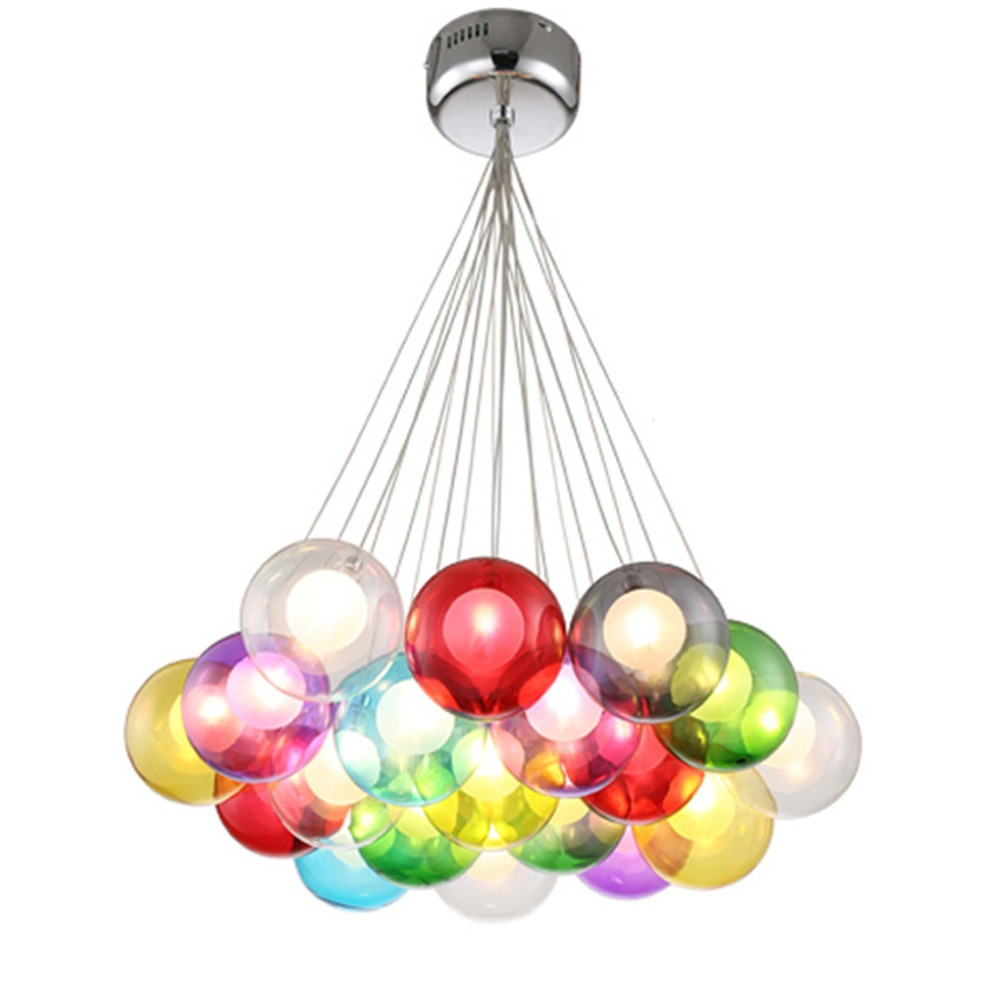 Colorful Glass Pendant Light for Kitchen Island Hanging Lighting Dining Room Colorful Glass Ball Light hanging pendant lamp LED glass ball pendant light for dining room glass ball pendant lamp for kitchen island modern hanging lights bedroom linear lamp