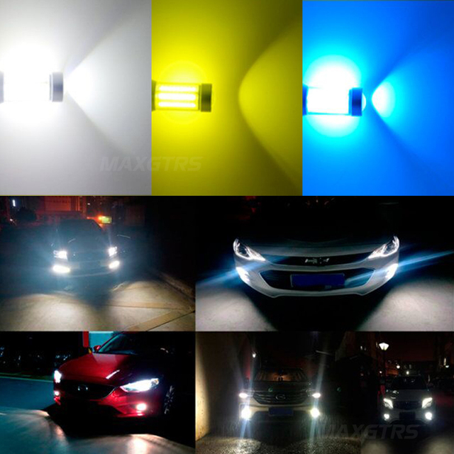 H1 1400LM H3 H27 880 COB Chips voiture   881 COB Chips, phare antibrouillard, lumière courante DRL 6000K blanc, or bleu glace 3000K