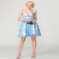 TS Couture A Line Princess Sweetheart Short Mini Sequined All Over Lace Cocktail Party Dress With