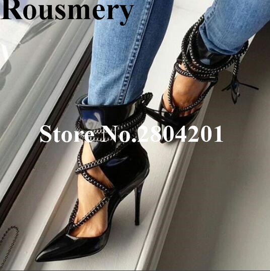Rousmery New Stylish Pointed Toe Rope Tassel Embellished Shoes Women Cross-tied Cut-out High Heel 12 CM Sexy Party Lady Pumps sexy hollow cut out wood pattern high heel pumps pointed toe slip on women party dress shoes sexy 11cm office lady pumps