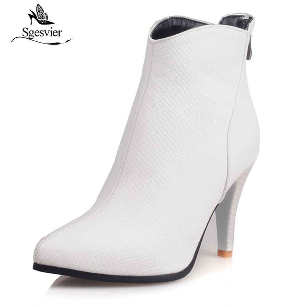Sgesvier Winter Ankle Boots Women Shoes High Heels Fashion Black Short Boots Female Zip Newest Warm Ladies Shoe Plus Size OX640 mcckle 2017 ladies fashion sexy autumn winter ankle boots female slip on zip black solid platform high heels plus size34 43