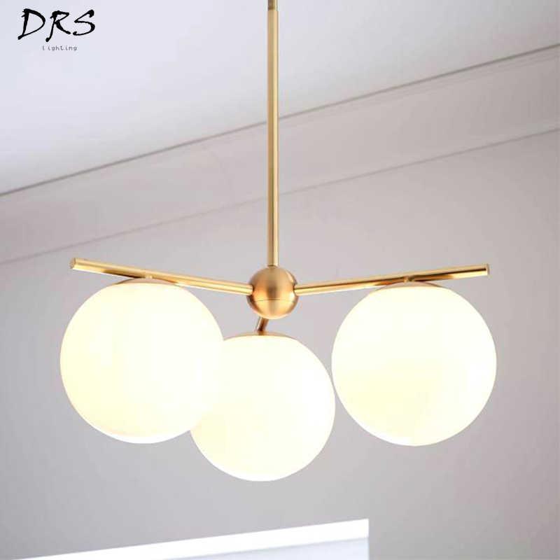 Скандинавский стеклянный волшебный светильник в форме бобов, креативная молекулярная лампа, филиал для дома, спальни, гостиной, ресторана, молочного белого шара, светодиодная люстра