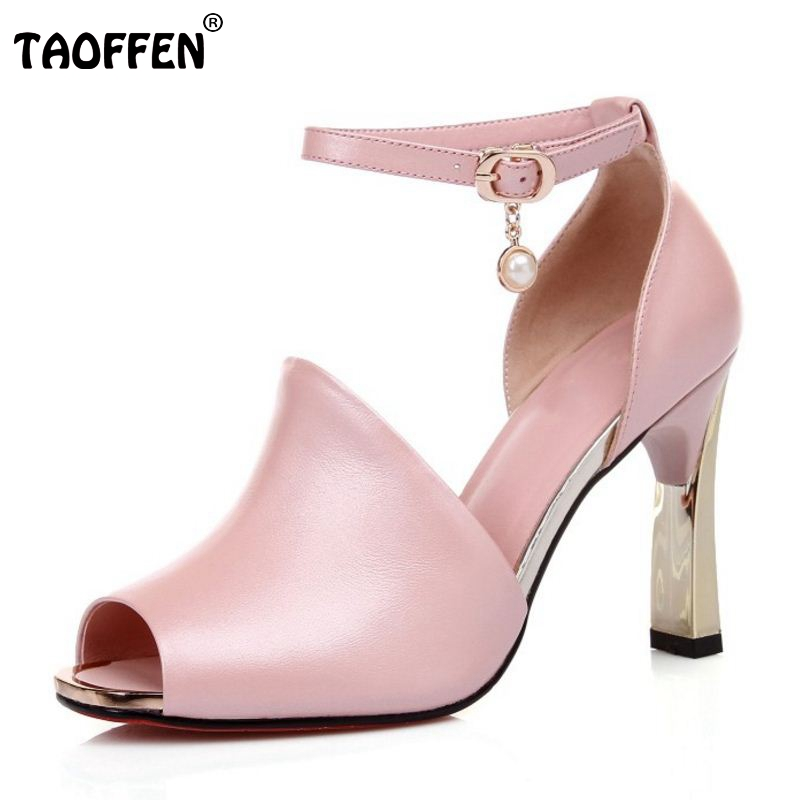 TAOFFEN Sexy Women Real Genuine Leather High Heel Sandals Ankle Strap Peep Toe Gold Heel Sandals Summer Women Shoe Size 34-40 2018 summer new arrived strap design wedges women sandals peep toe comfort mid heel sexy lady sandal fashion student casual shoe