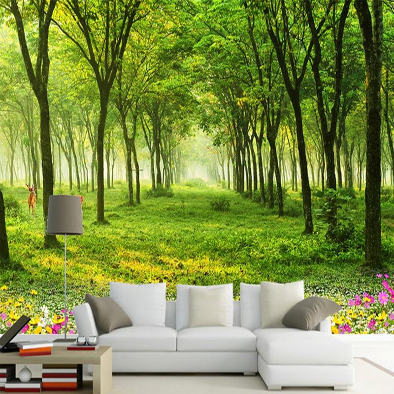 Kustom Ukuran Lukisan Dinding Wallpaper 3D Pemandangan Alam Hijau Pohon Foto Kertas Dinding Ruang Tamu TV