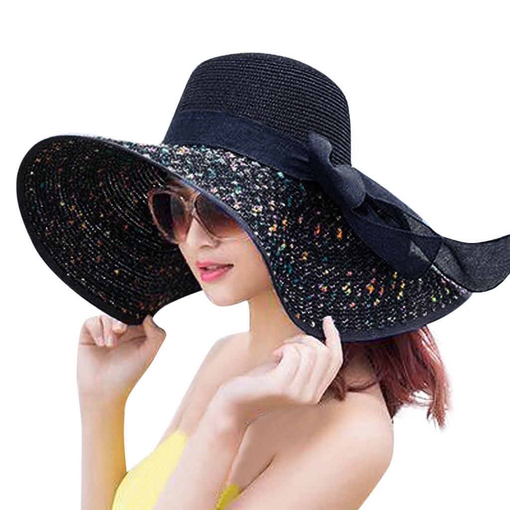 Aerusi Women Girls Panama Wide Brim Straw Sun Floppy Hat with Ribbon Tie Band