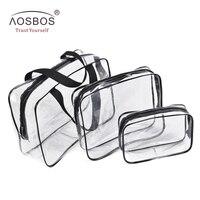 Aosbos النساء أزياء 3 قطعة/المجموعة البلاستيكية وأكياس مستحضرات التجميل غسل كيس ماء شفافة الرجال المحمولة السفر أدوات الزينة حقيبة ماكياج