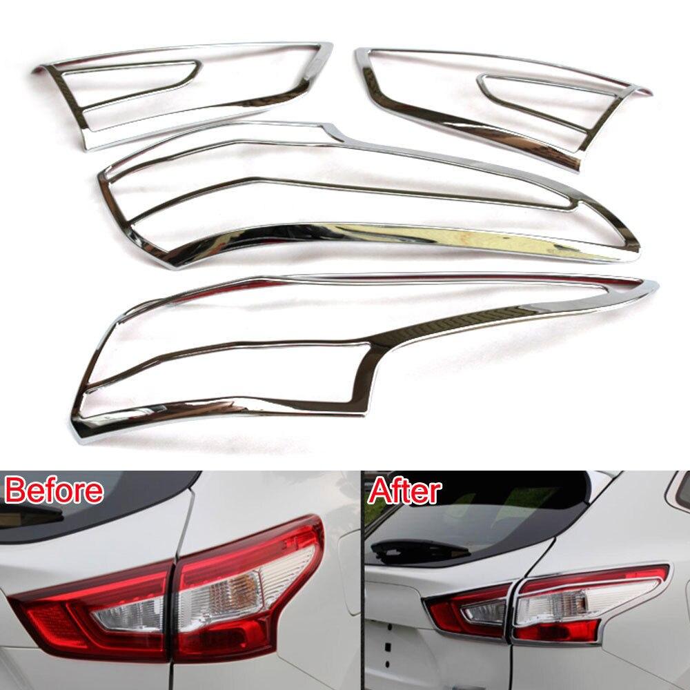 Chrome 4 pièces ABS voiture arrière feu arrière lampe couverture garniture gardes voiture lumières protecteur style autocollant ajustement pour 2016 Qashqai accessoires