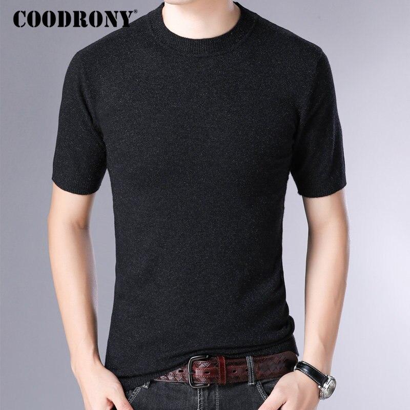 COODRONY Brand Sweater Men Streetwear Casual Short Sleeve Pullover Men Slim Fit Knitwear Pull Homme Autumn Winter Sweaters 91058